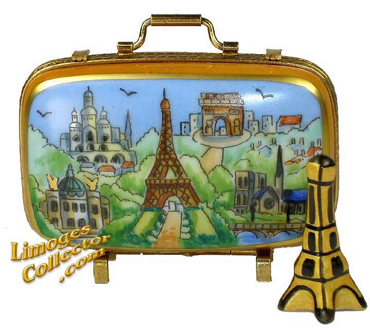 Paris Landmarks Suitcase with the Eiffel Tower Limoges Box | LimogesCollector.com