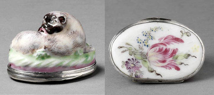 Pug dog Limoges porcelain snuff box
