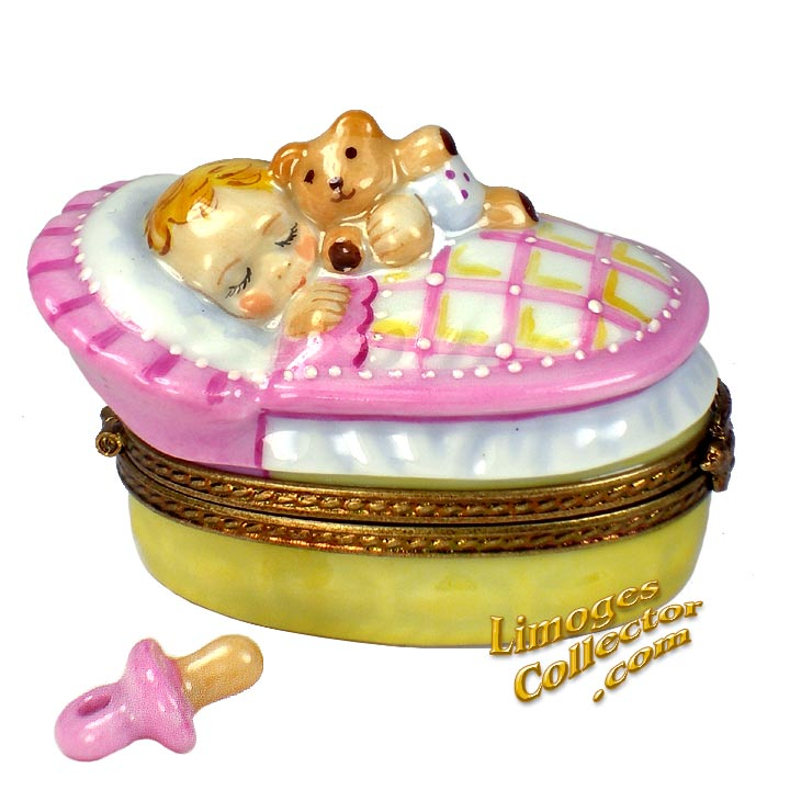Baby Girl in Bassinet Limoges box | LimogesCollector.com