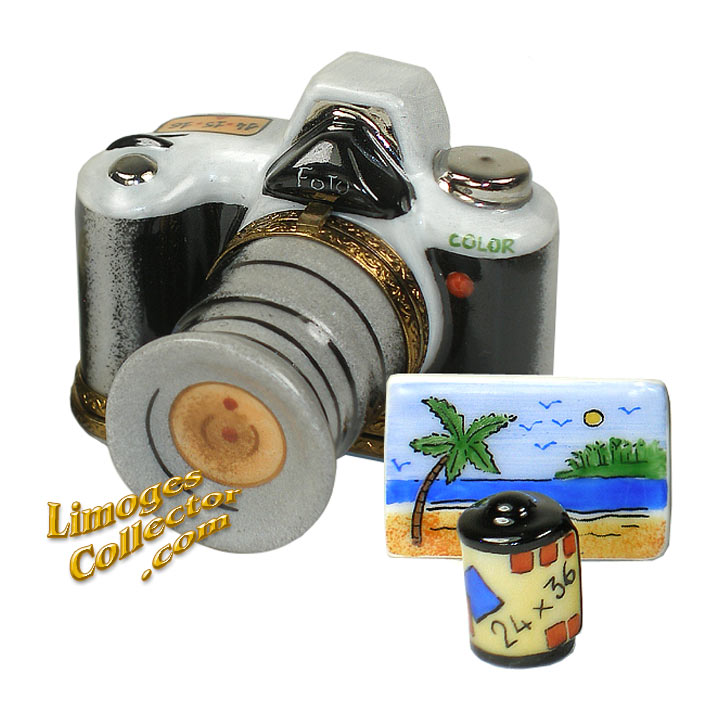 Double-Hinged Zoom Camera with Film Limoges Box by Beauchamp Limoges | LimogesCollector.com