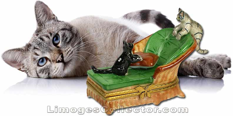 Cats Playing on Chaise Limoges Box | LimogesCollector.com