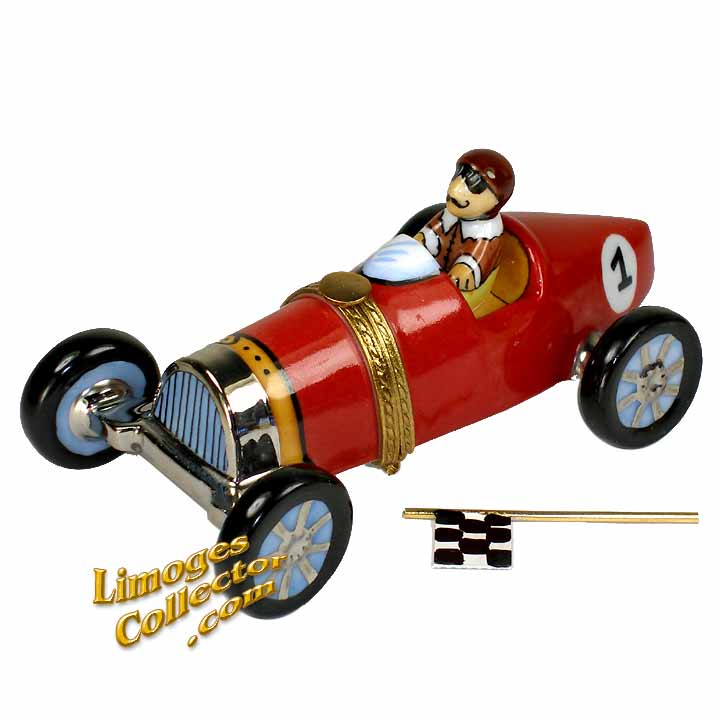 Antique Race Car with Flag Limoges Box by Beauchamp | LimogesCollector.com