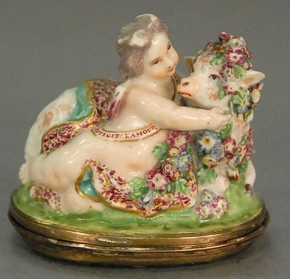 Cherub French Antique Limoges Bonbonnierre box