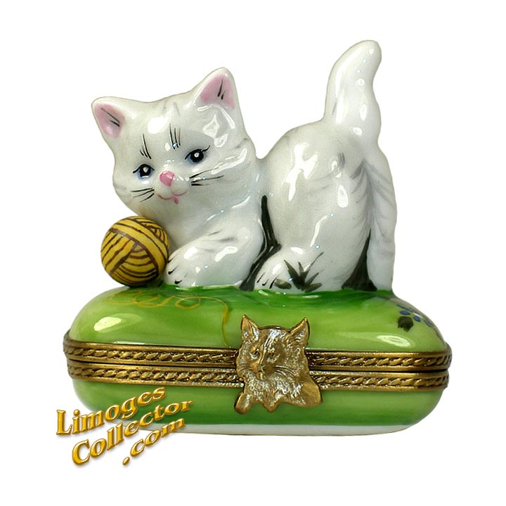 White Kitty Playing with Yarn Limoges Box | LimogesCollector.com