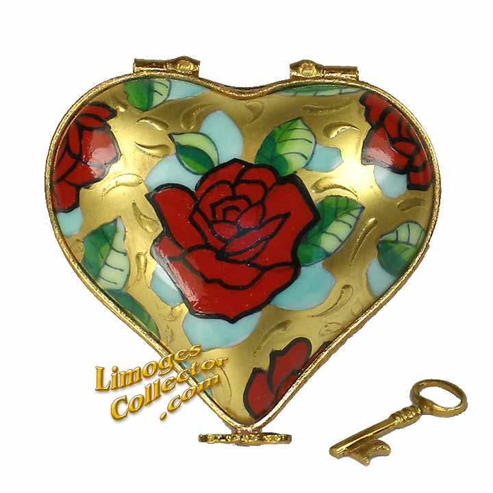 Golden Heart with Red Rose Limoges Box | LimogesCollector.com