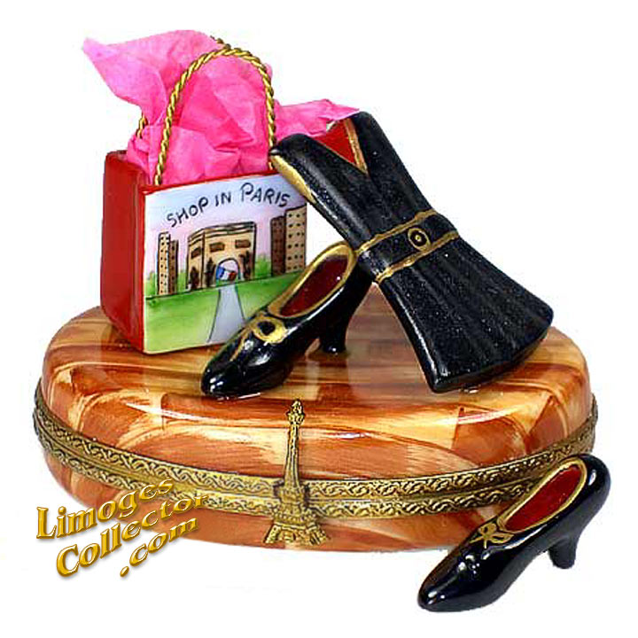 Paris Shopping Spree Dress & Shoes Limoges Box by Beauchamp | LimogesCollector.com