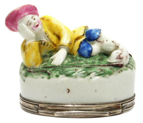 Menecy Snuff Box with a Shepherd and Dog, circa 1760