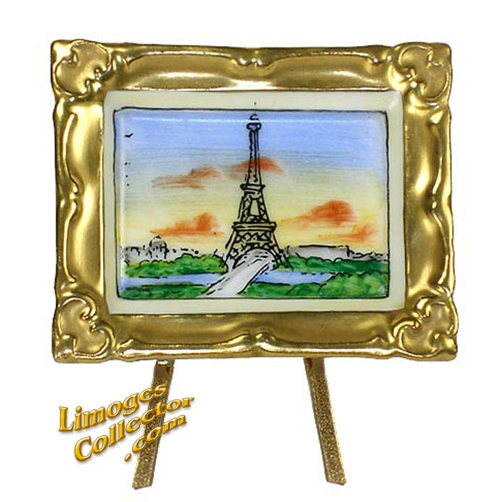 Eiffel Tower Painting in Gold Frame Retired Limoges Box | LimogesCollector.com