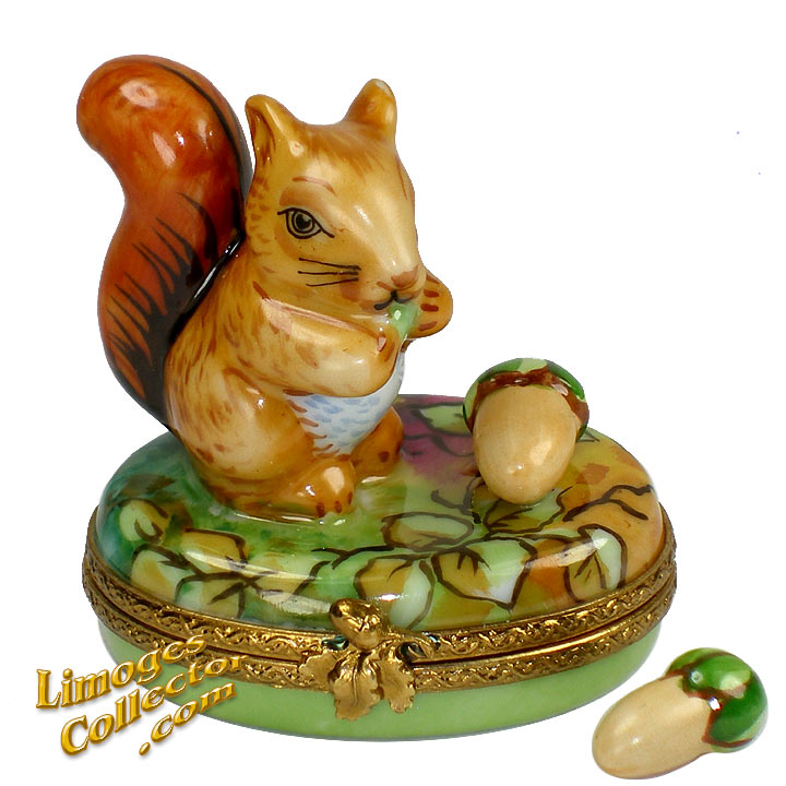 Squirrel Eating Acorn Limoges Box | LimogesCollector.com