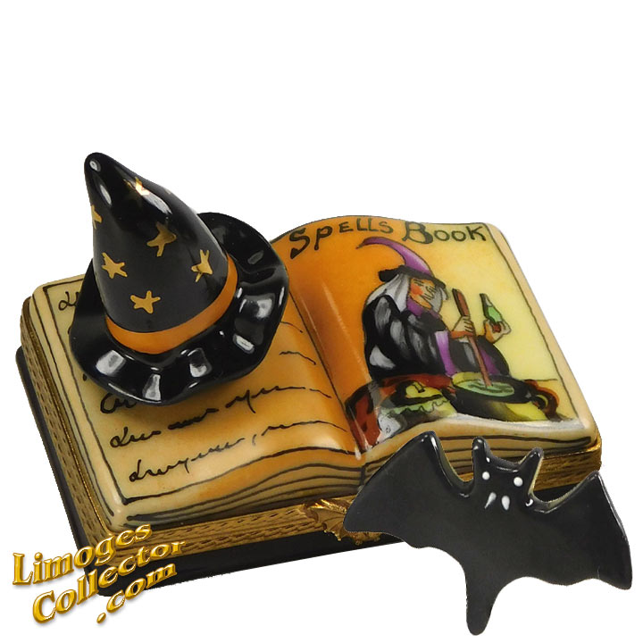WITCH'S SPELL BOOK, WITCH HAT & BAT LIMOGES BOX (BEAUCHAMP)