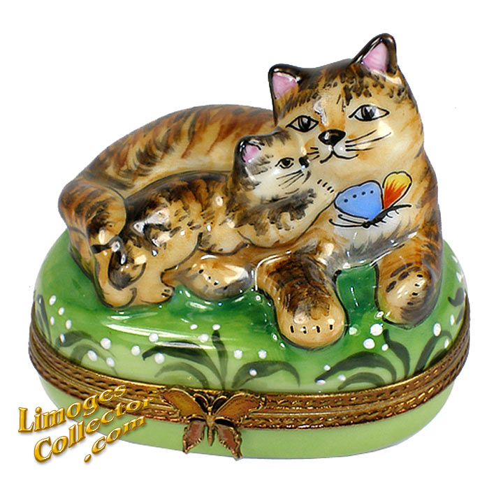 Brown Cat and Kitty Limoges Box | Limogescollector.com