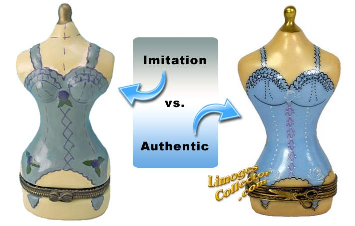 Authentic Limoges box vs. an imitation