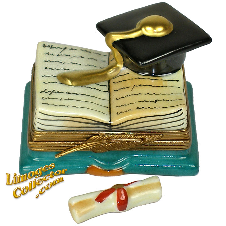 Open Graduation Book with Cap and Diploma Limoges Box | LimogesCollector.com