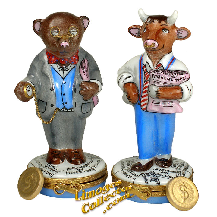 Bull Market & Bear Market Limoges Box Set | LimogesCollector.com