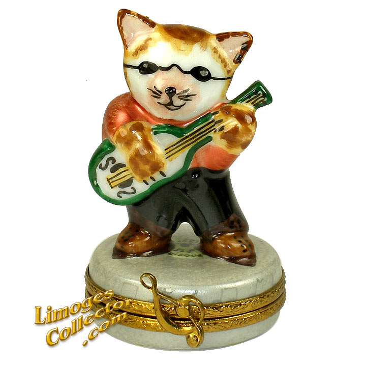 Rock-n-Roll Cat Playing Guitar Limoges Box | LimogesCollector.com
