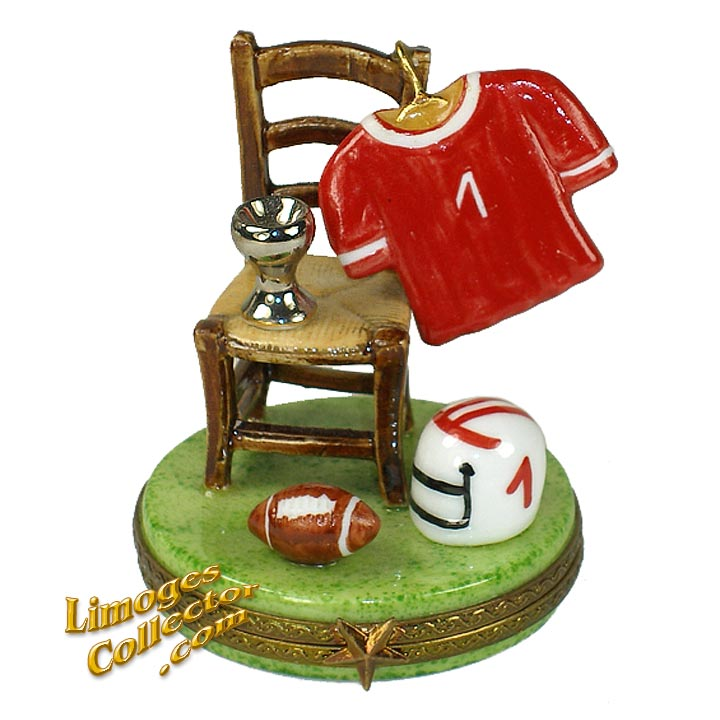 Football Uniform, Football and Trophy on Chair Limoges Box | LimogesCollector.com