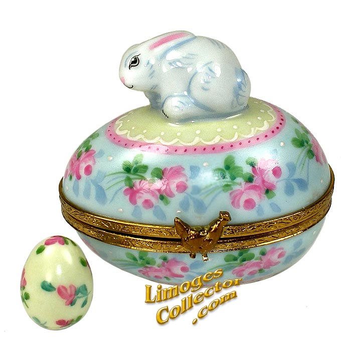 Hand-Painted Floral Easter Egg with Bunny Rabbit Limoges Box | LimogesCollector.com
