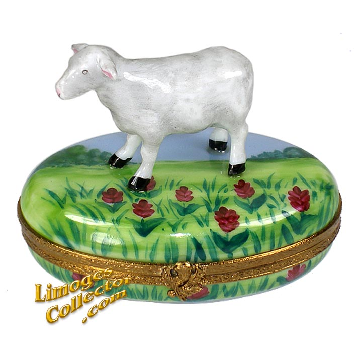 Lamb in the Meadow Limoges box | LimogesCollector.com