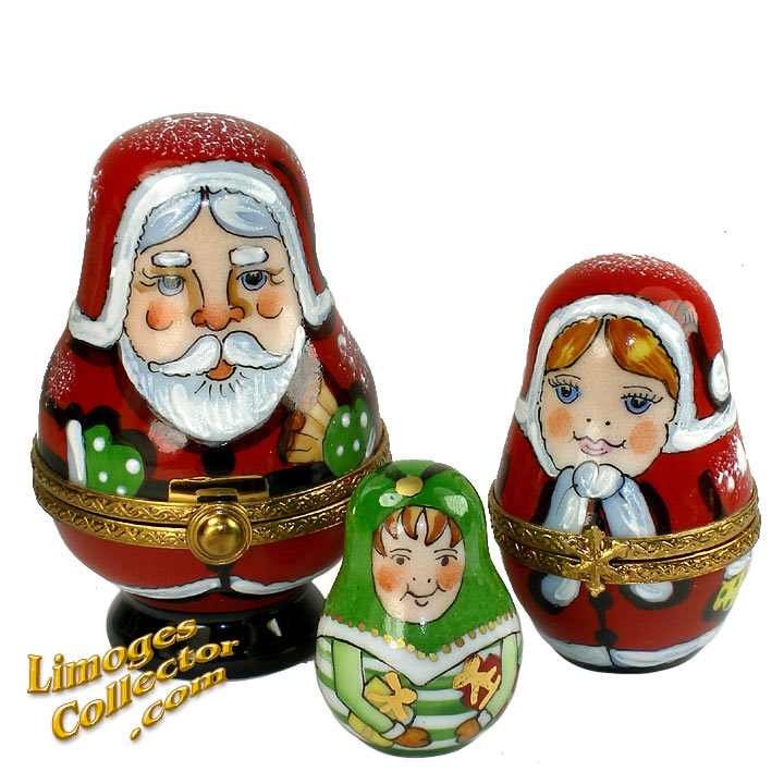 Santa Claus, Mrs. Claus & Elf Limoges box by Beauchamp | LimogesCollector.com