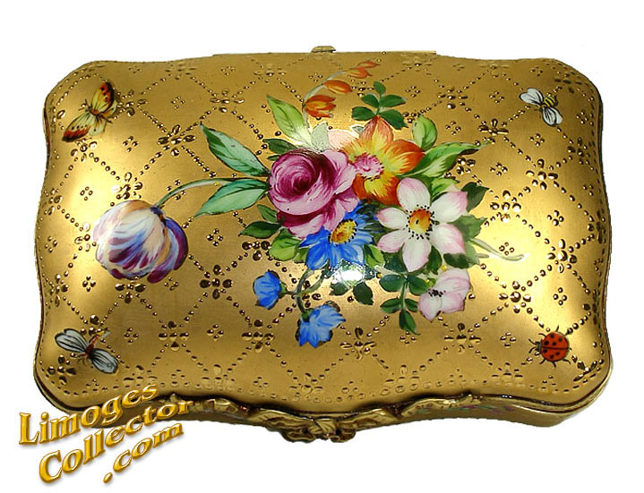MUSEUM QUALITY 24K GOLD FLORAL LARGE LIMOGES BOX