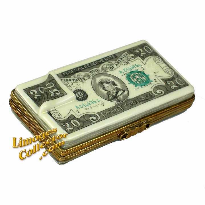 Stack of $20 Bills Limoges Box by Beauchamp | LimogesCollector.com