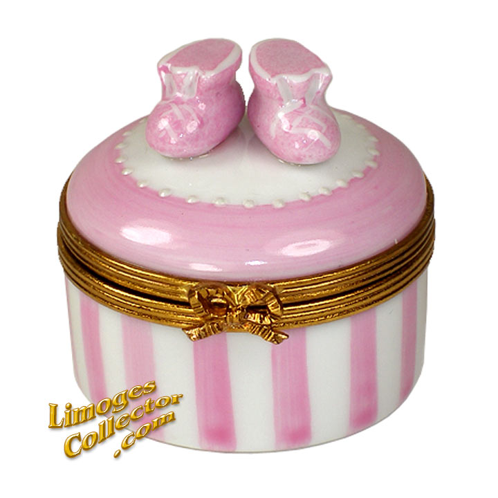 Baby Girl Booties Limoges Box | LimogesCollector.com