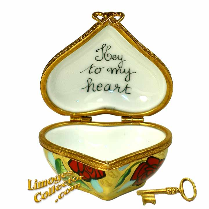 Golden Heart with Red Roses Key To My Heart Limoges Box | Limogescollector.com