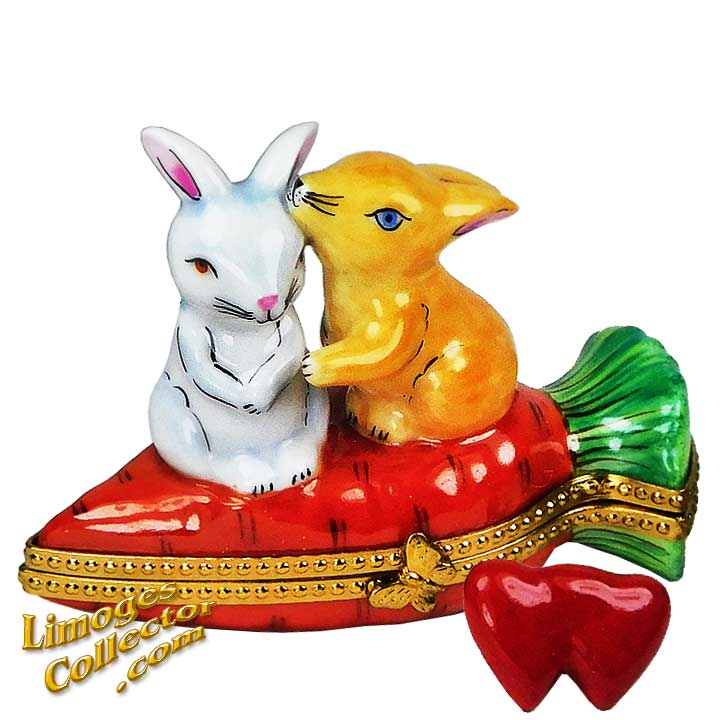 Rabbit Couple on Carrot Limoges Box   LimogesCollector.com