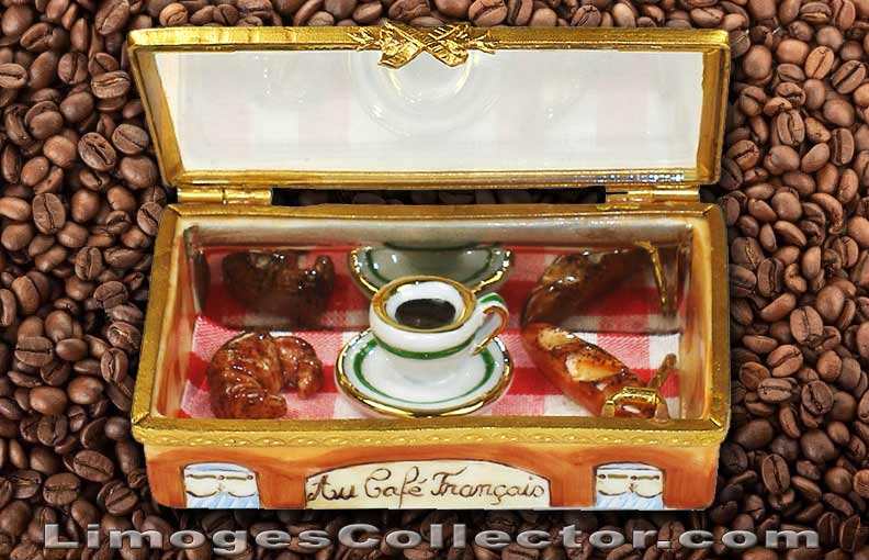 French Cafe Coffee and Croissant Breakfast Limoges Box | LimogesCollector.com