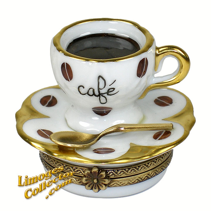 Coffee Cup & Saucer Limoges Box by Beauchamp | LimogesCollector.com
