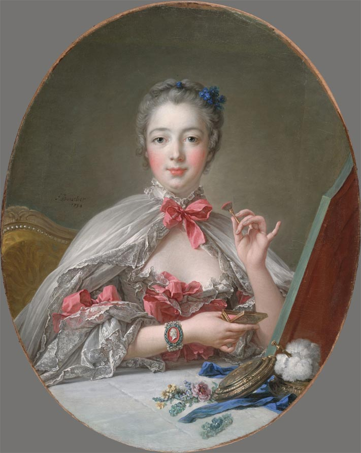 Marquis de Pompadour using a Limoges porcelain box as a makeup box