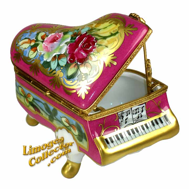 Piano with Rose Design Limoges Box by Beauchamp | LimogesCollector.com