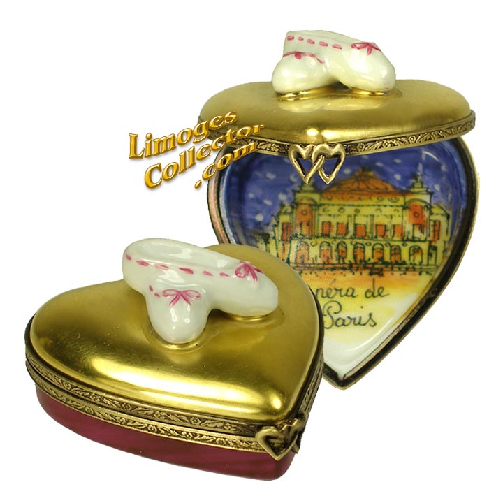 Heart-Shaped Paris Opera Limoges Box with Ballet Slippers | LimogesCollector.com