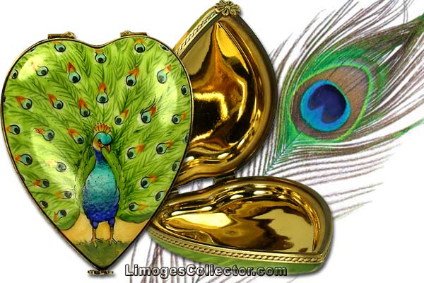 Peacock Heart Limoges Box by Beauchamp | LimogesCollector.com