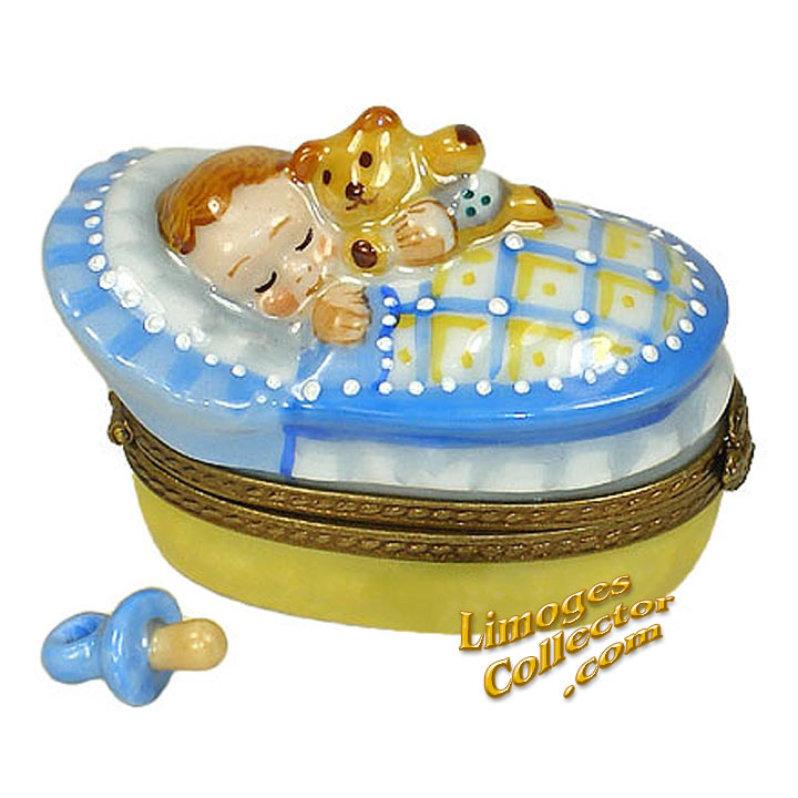 Baby Boy in Bassinet Limoges Box | LimogesCollector.com