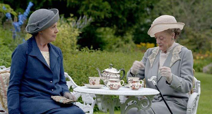 Violet and Isobel enjoying tea at Downton Abbey