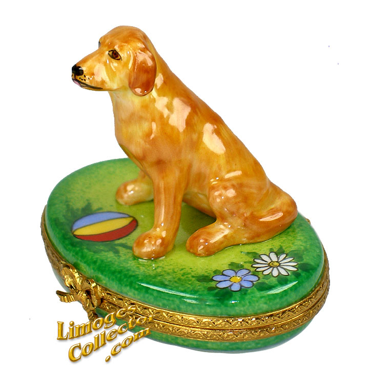 Golden Retriever Limoges Box by Beauchamp | LimogesCollector.com