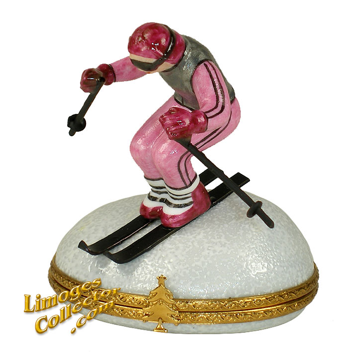 Downhill Skier Limoges Box | LimogesCollector.com