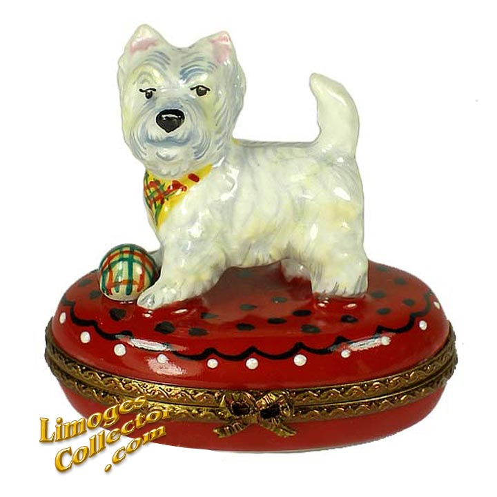 White Westie Dog with Ball Limoges Box by Beauchamp | LimogesCollector.com
