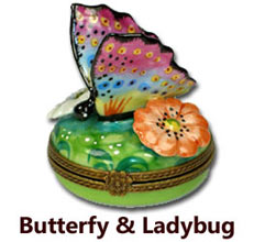Butterfy and Ladybug Limoges Boxes