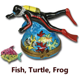 Fish, Turtle, Frog Limoges Boxes